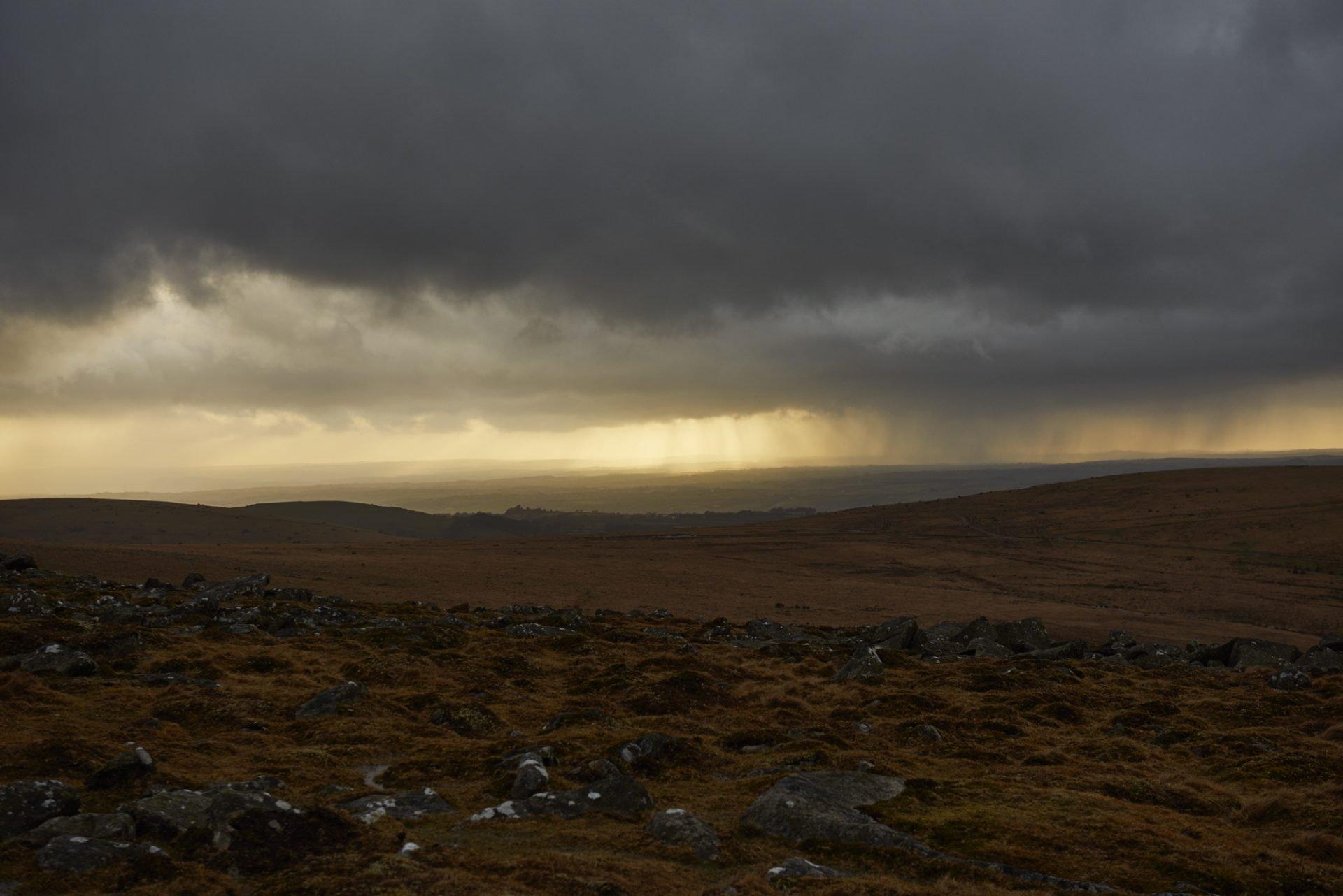 Rain clouds Rowtor Dartmoor 2016